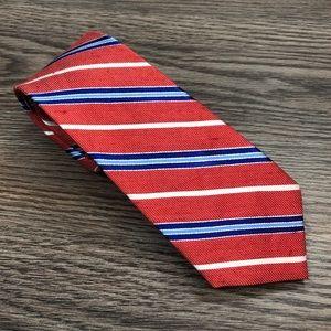 Ben Sherman Red w/ Blue Stripe Linen Skinny Tie